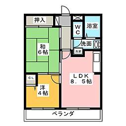 愛知県名古屋市緑区鳴子町2丁目の賃貸マンションの間取り
