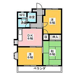 A one yokoyamaI[2階]の間取り