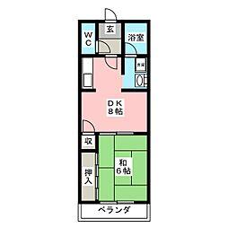 ミロワールII 2階1DKの間取り
