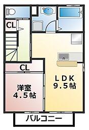 千葉県習志野市藤崎4丁目の賃貸アパートの間取り