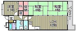 エスト堺グランディール 4階3LDKの間取り