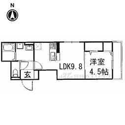 (仮称)ネオクリエイト勝竜寺 2階1DKの間取り