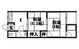 堀ノ内荘[203号室]の間取り