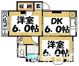 福岡県春日市須玖南6丁目の賃貸アパートの間取り