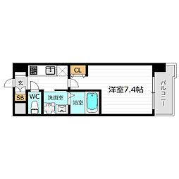 京阪本線 野江駅 徒歩6分の賃貸マンション 7階1Kの間取り