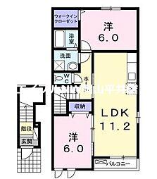 JR山陽本線 瀬戸駅 3.9kmの賃貸アパート 2階2LDKの間取り