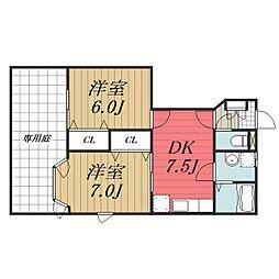 千葉県旭市ニの賃貸アパートの間取り