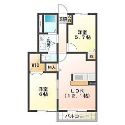 ハピネスタウンIII 2棟[1階]の間取り