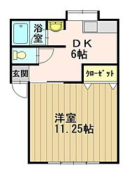 マイハウス美鈴 2階1DKの間取り