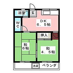 山喜多コーポ[2階]の間取り