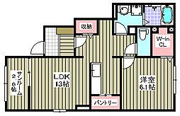 大阪府岸和田市加守町2丁目の賃貸アパートの間取り