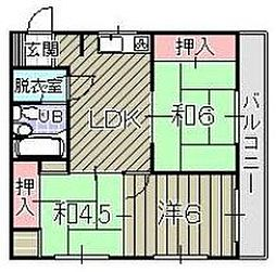 福岡県北九州市小倉北区足立2丁目の賃貸マンションの間取り