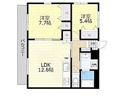 NLC豊中グリーンプレイス2 3階2LDKの間取り