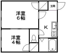 コーポ高橋B[205号室]の間取り