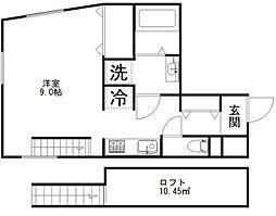 東京メトロ日比谷線 中目黒駅 徒歩9分の賃貸マンション 3階ワンルームの間取り
