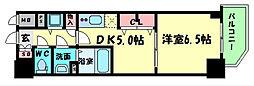 Osaka Metro中央線 阿波座駅 徒歩6分の賃貸マンション 6階1DKの間取り
