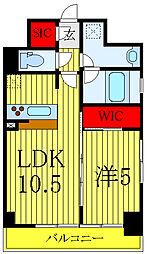 テラス文京本郷 4階1LDKの間取り
