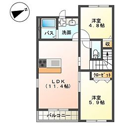 (仮称)平塚市四之宮アパートII期 新築工事 2階2LDKの間取り
