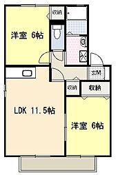 高知県高知市南久万の賃貸アパートの間取り