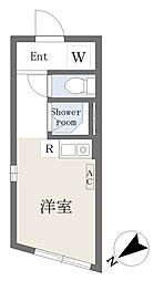 JR総武線 大久保駅 徒歩8分の賃貸マンション 地下1階ワンルームの間取り