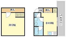 兵庫県姫路市飾磨区西浜町2の賃貸アパートの間取り