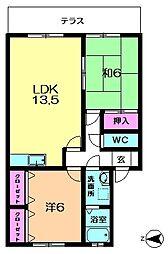 ラフィーネ西大寺[1階]の間取り