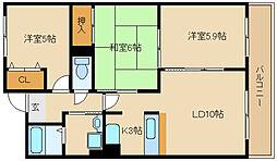 兵庫県尼崎市武庫之荘本町2丁目の賃貸マンションの間取り