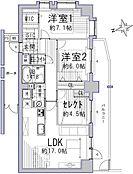 専有面積79平米越えの広々とした間取りです。2LDKor3LDKをご自由にお選び頂けます。リビング22帖以上としてお使い頂くことも可能でございます。