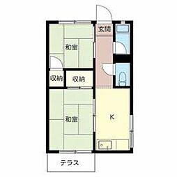 大阪府堺市北区百舌鳥梅北町3丁の賃貸アパートの間取り