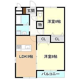 茨城県つくばみらい市陽光台1丁目の賃貸マンションの間取り