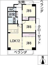 パークサイド雁宿 2号館[5階]の間取り