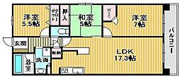 インペリアル鳳[4階]の間取り