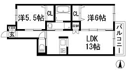 兵庫県宝塚市平井3丁目の賃貸マンションの間取り