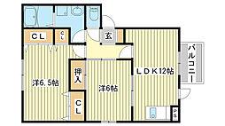 兵庫県たつの市龍野町大道の賃貸アパートの間取り