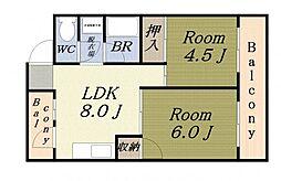 サンハイムホシバ 3階2LDKの間取り