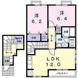 徳島県板野郡藍住町徳命字元村東の賃貸アパートの間取り