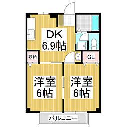 長野県松本市大字内田の賃貸アパートの間取り