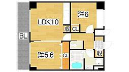 大阪府大東市赤井1丁目の賃貸マンションの間取り