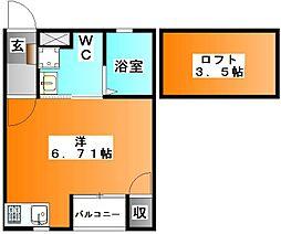 東京都北区東十条3の賃貸アパートの間取り