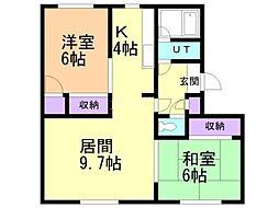 GRAND CREST(旧:横田ハイツ) 1階2LDKの間取り