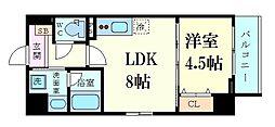 グランディール鷺洲 6階1LDKの間取り