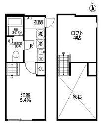 JR南武線 宿河原駅 徒歩7分の賃貸アパート 1階1Kの間取り