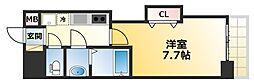 LUXE難波西1 7階1Kの間取り