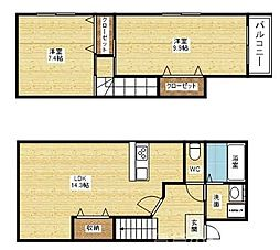 Fuke Maison Toyonaka I 2階2LDKの間取り
