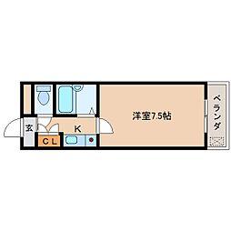 近鉄京都線 平城駅 徒歩6分の賃貸マンション 2階1Kの間取り