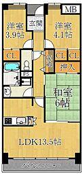 アバンティ御代開[6階]の間取り