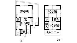兵庫県宝塚市雲雀丘2丁目の賃貸アパートの間取り