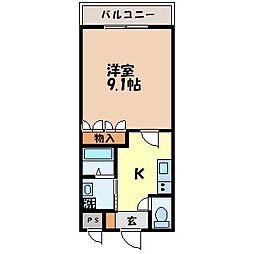 サニープレイス 2階1Kの間取り
