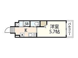 JR芸備線 矢賀駅 徒歩8分の賃貸マンション 6階1Kの間取り