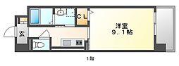 JR山陽本線 岡山駅 バス25分 新福下車 徒歩7分の賃貸マンション 6階1Kの間取り